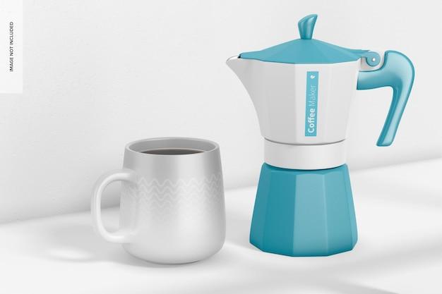 マグカップモックアップ付きコーヒーメーカー