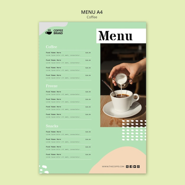 Coffee menu concept template