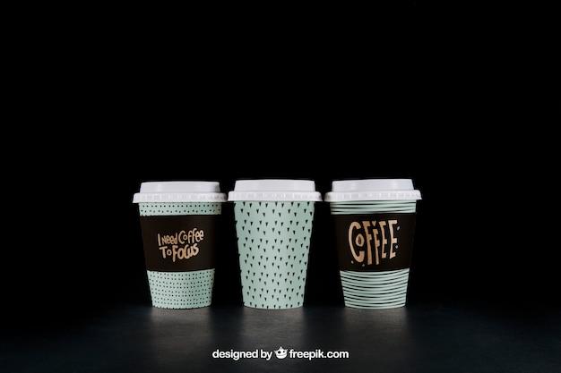 Coffee mockup of three cups
