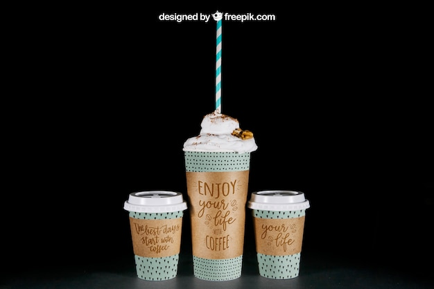 Coffee mockup two small and one large cup