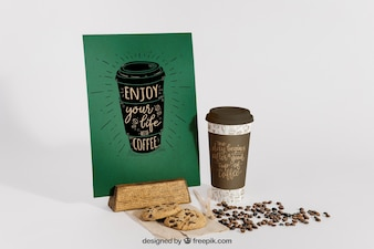 Coffee mockup with beans