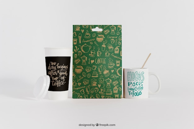 Coffee mockup with two cups and bag