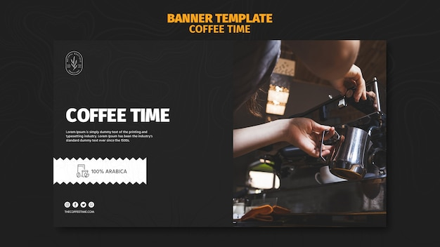 Coffee morning time banner template