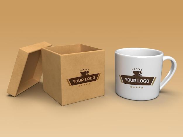 Coffee mug and box mockup design