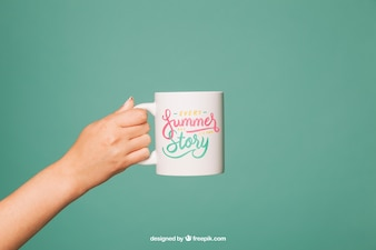 Coffee mug mockup with arm