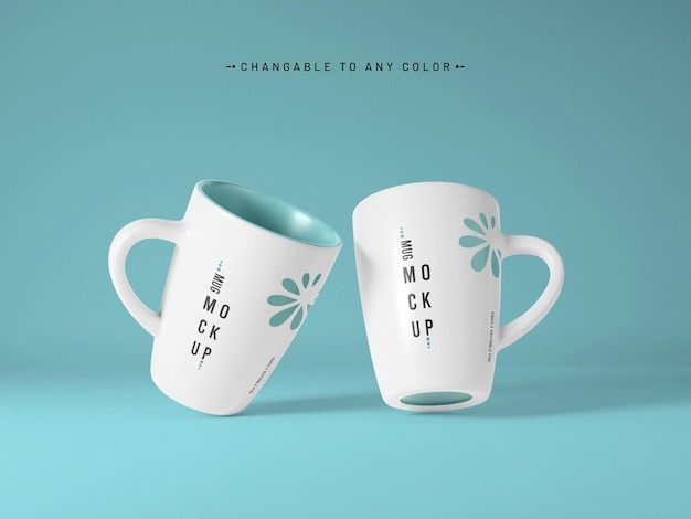 Coffee mug mockup with editable color