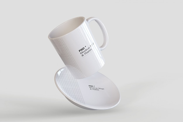 Coffee mug and plate mockup