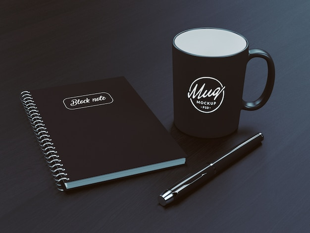 Coffee mug with notebook mockup