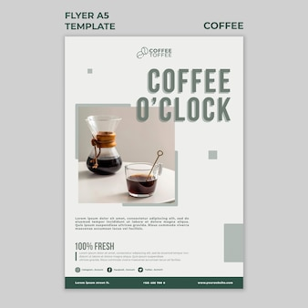 Coffee o'clock flyer template