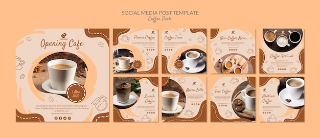 Modello di post social media pack di caffè