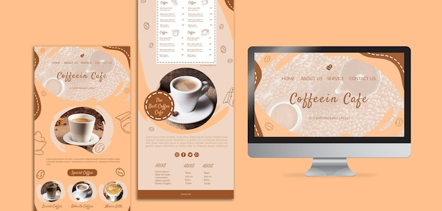Coffee pack various templates and screen Free Psd