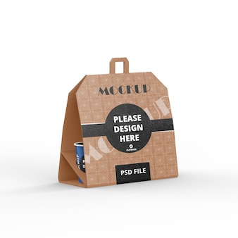 Coffee pack with cup mockup