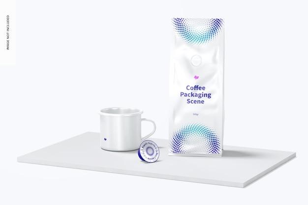 Упаковка для кофе и макет сцены с чашкой