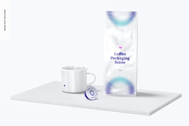 Coffee packaging and cup scene mockup