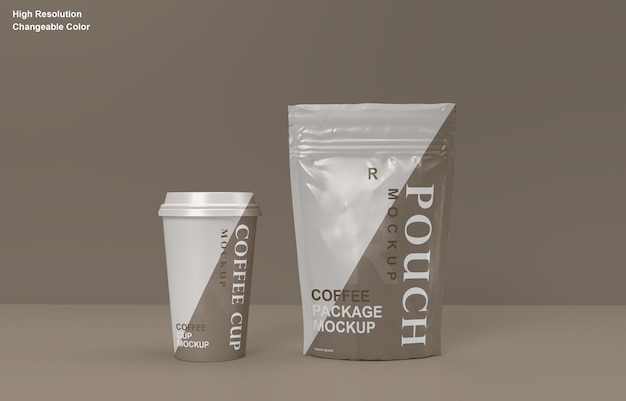 Coffee packaging sachet and coffee cup mockup design