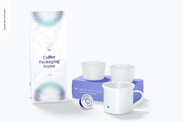Мокап сцены упаковки кофе, вид спереди
