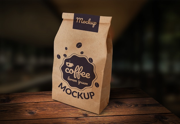 Coffee paper bag mock-up wood background