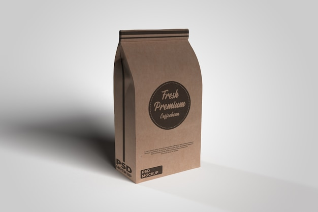 Coffee paper bag realistic mockup isolated