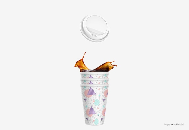 Coffee paper cup mockup in 3d rendering isolated