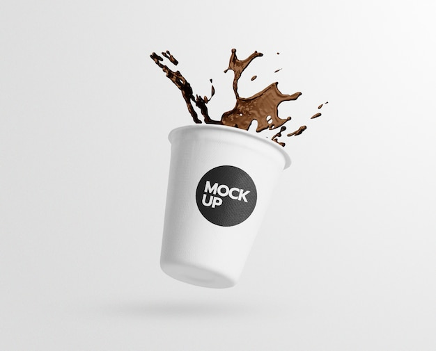 Coffee paper cup splash mockup