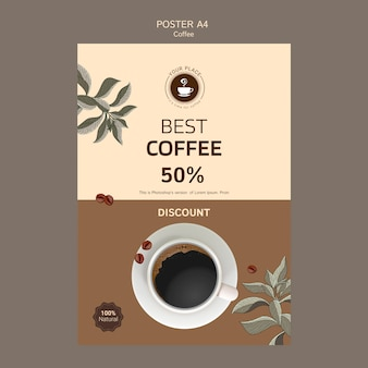 Coffee poster template with discount