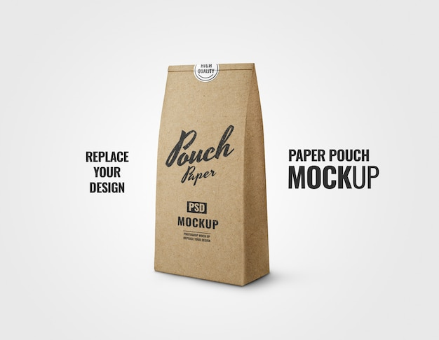 Coffee pouch paper craft realistic mockup