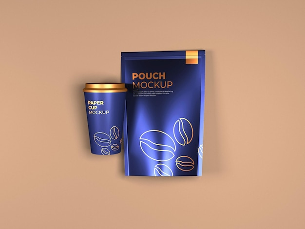 Coffee pouch and paper cup mockup top view