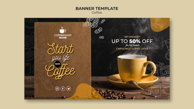 Coffee promotion banner template