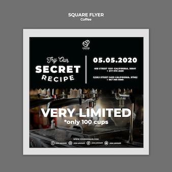 Coffee recipe square flyer