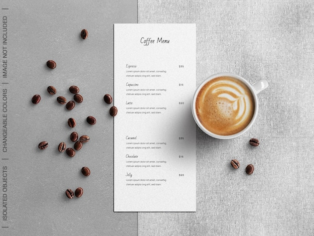 Coffee restaurant menu concept mockup with cup and beans flat lay isolated