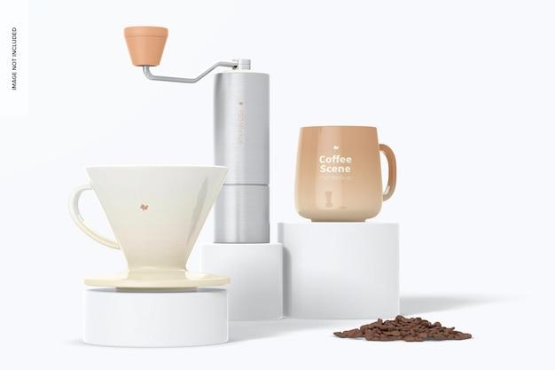 表彰台のコーヒーシーンのモックアップ