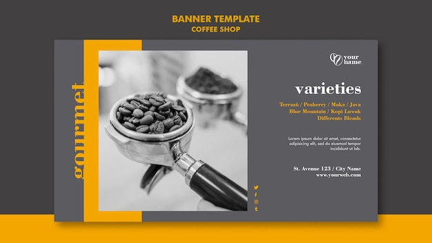 Coffee shop banner template concept
