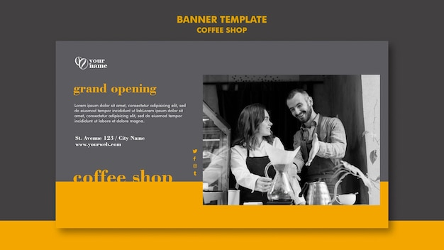 Coffee shop banner template design