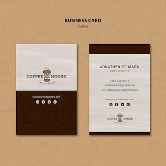 Coffee shop business card template with hand drawn elements