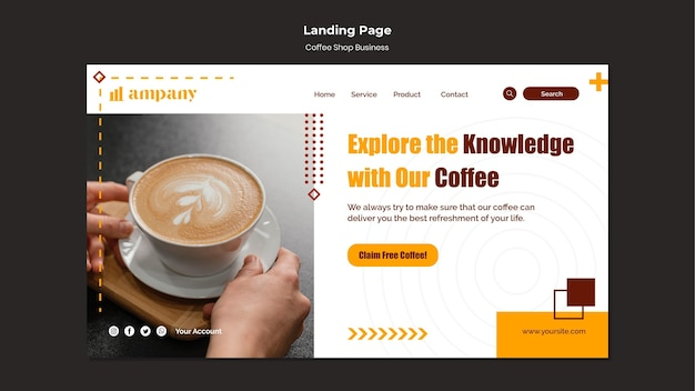 Шаблон дизайна целевой страницы бизнеса кофейни
