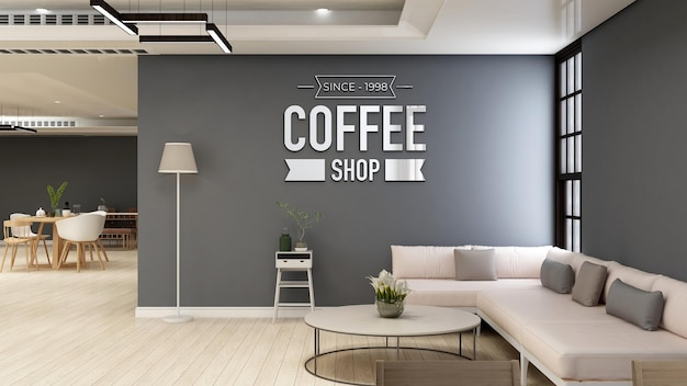 Coffee shop or cafe wall logo mockup for branding in modern cafe room with sofa