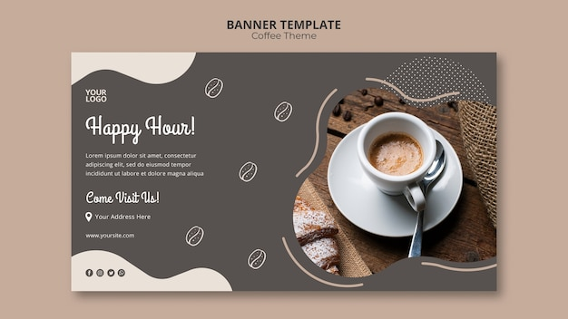 Coffee shop concept banner template