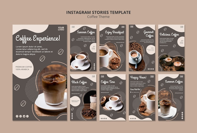 Coffee shop concept instagram  stories template