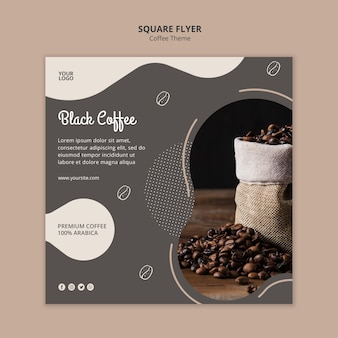 커피 숍 개념 사각형 전단지 서식 파일