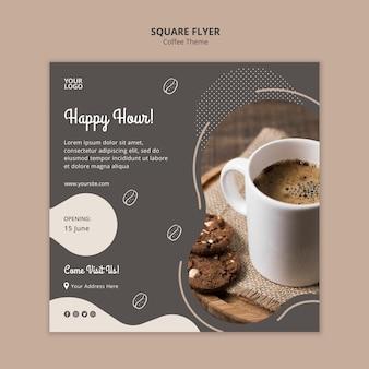 Кофейня концепция квадратный флаер шаблон