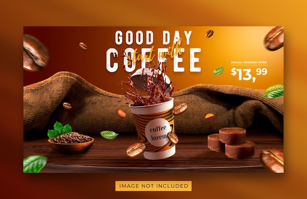 コーヒーショップドリンクメニュープロモーションウェブバナーテンプレート
