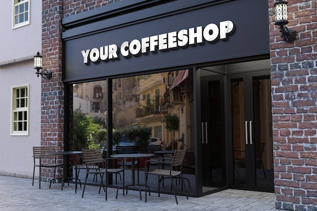 Coffee shop facade 3d logo mockup