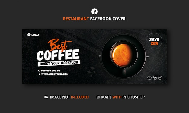 Coffee shop facebook cover banner template