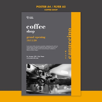Coffee shop flyer template concept
