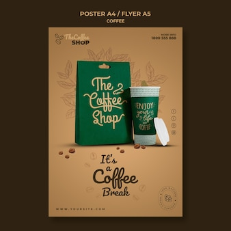 Coffee shop flyer template Free Psd