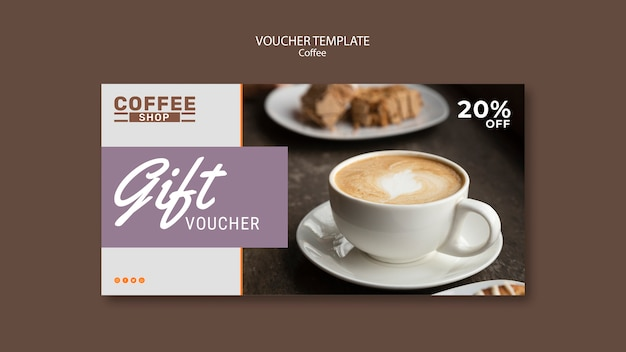 Coffee shop gift voucher template