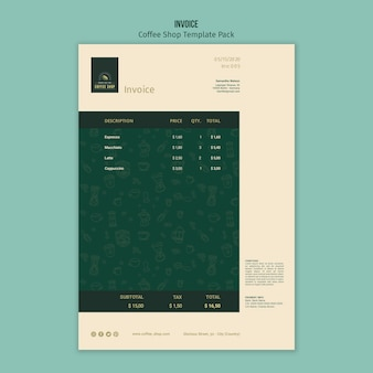 Coffee shop invoice template pack