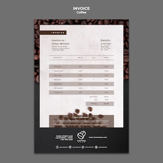 Coffee shop invoice template