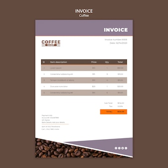 Coffee shop invoice with costs