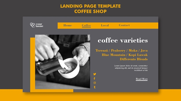 コーヒーショップのランディングページのテーマ